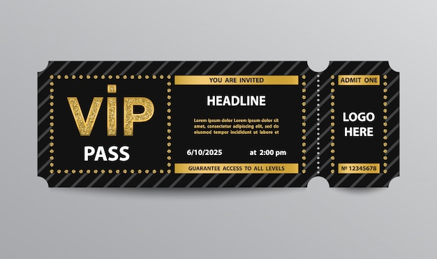 Vip pass admission ticket template Premium Vector