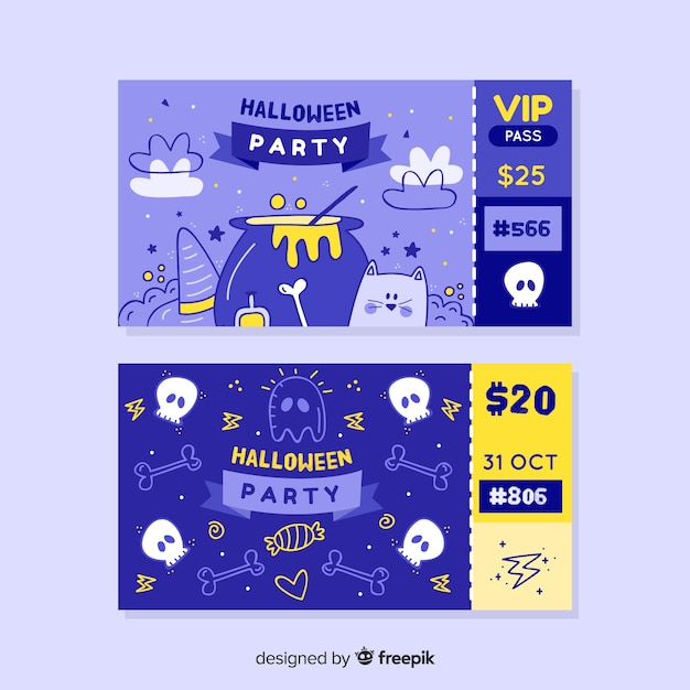 Vip and standard tickets for halloween night Free Vector