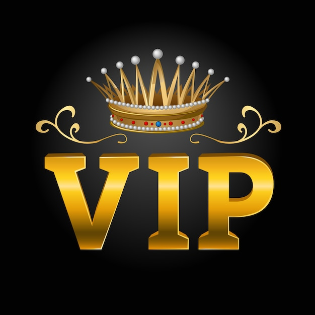 Vip with crown composition Free Vector