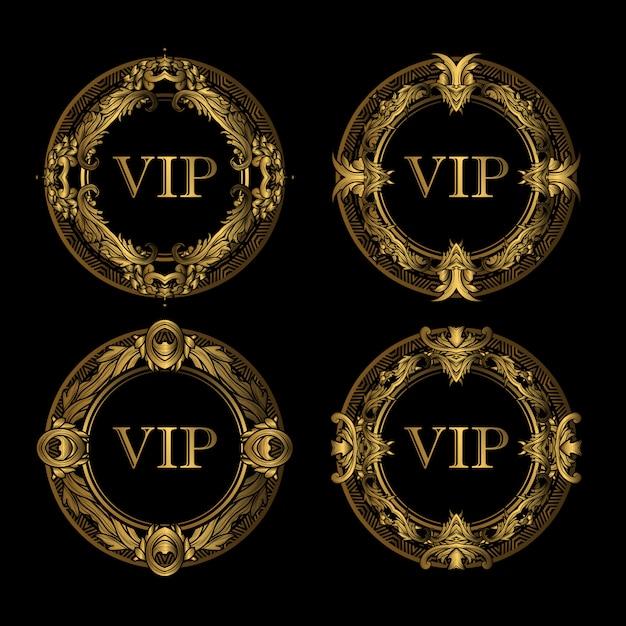 Набор vip золотая рамка люкс Premium векторы