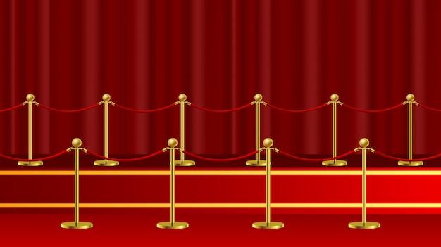 Торжественное vip-мероприятие на красной ковровой дорожке или визит главы государства в реалистичное изображение с золотыми барьерами Premium векторы