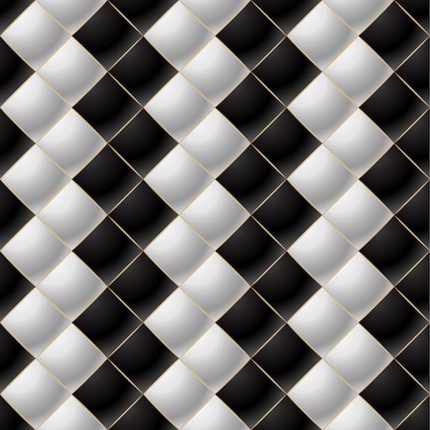 黒と白のエレガントなキルティングパターンvipの背景 Premiumベクター