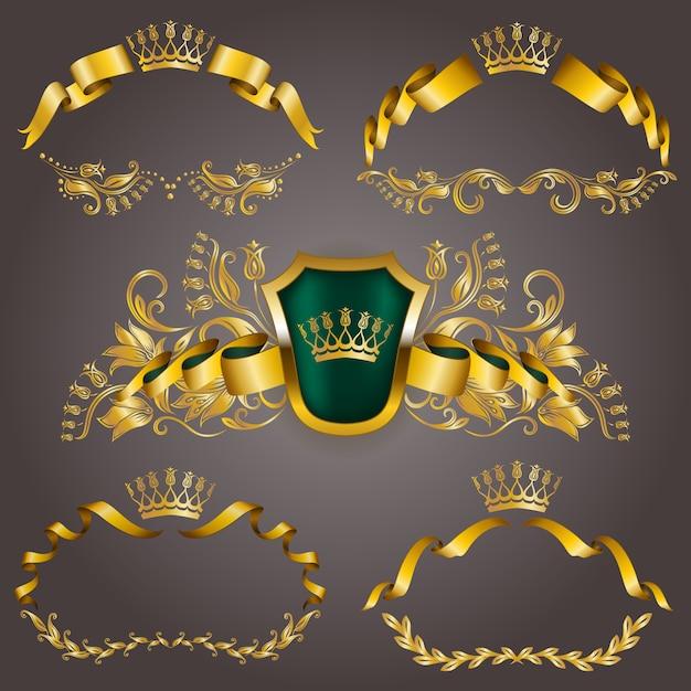グラフィックデザインのゴールドvipモノグラムのセット。エレガントな優雅なフレーム、リボン、フィリグリーボーダー、ビンテージスタイルの王冠 Premiumベクター