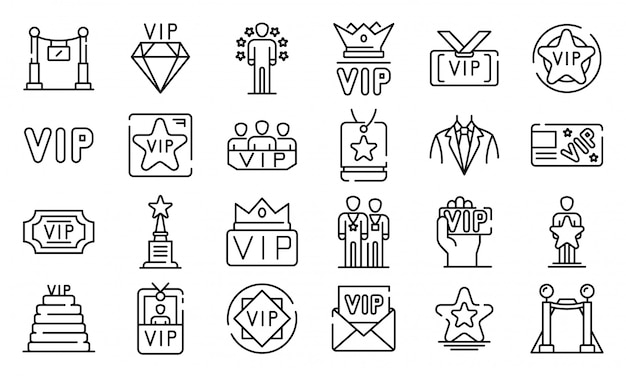 Набор иконок vip, стиль контура Premium векторы