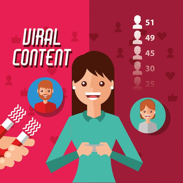 Viral content woman holding mobile with magnet attracts followers Premium Vector