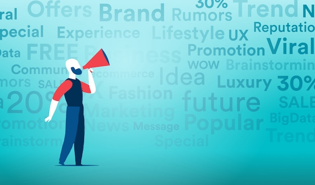 Viral marketing with the mainstream channels of communication Premium Vector