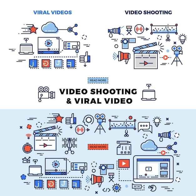 Viral video and video shooting information page Premium Vector