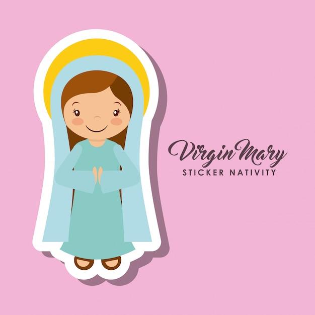 Virgen mary sticker Premium Vector