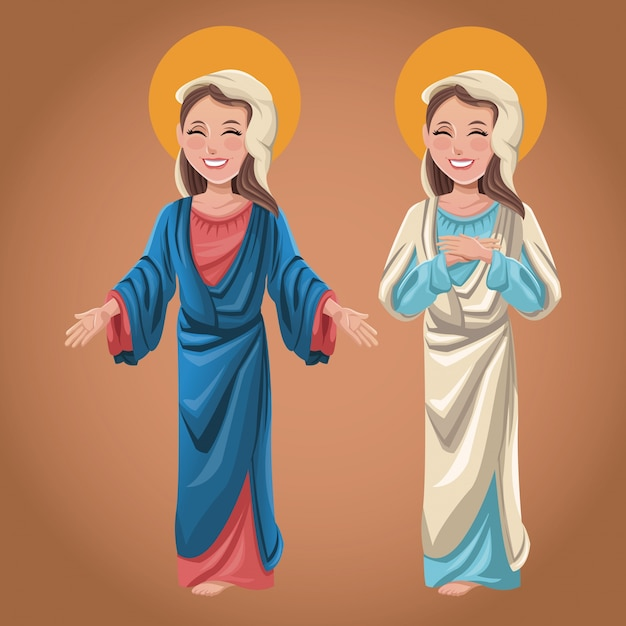 Богоматерь духовная католическая Premium векторы