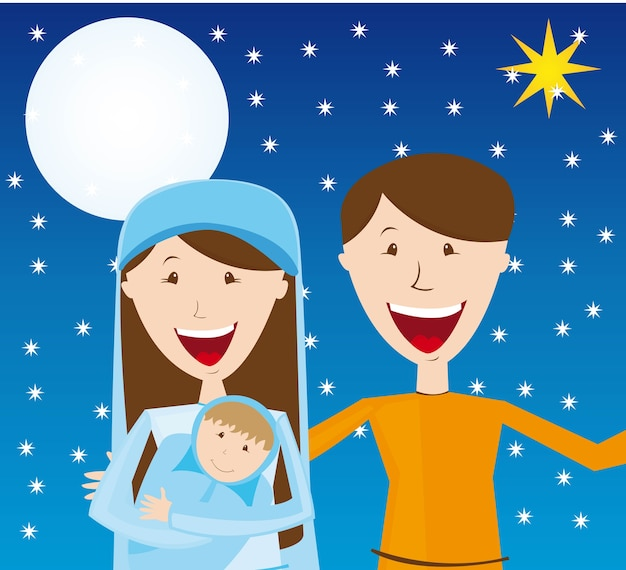 Virgin mary st joseph and baby jesus over night vector Premium Vector