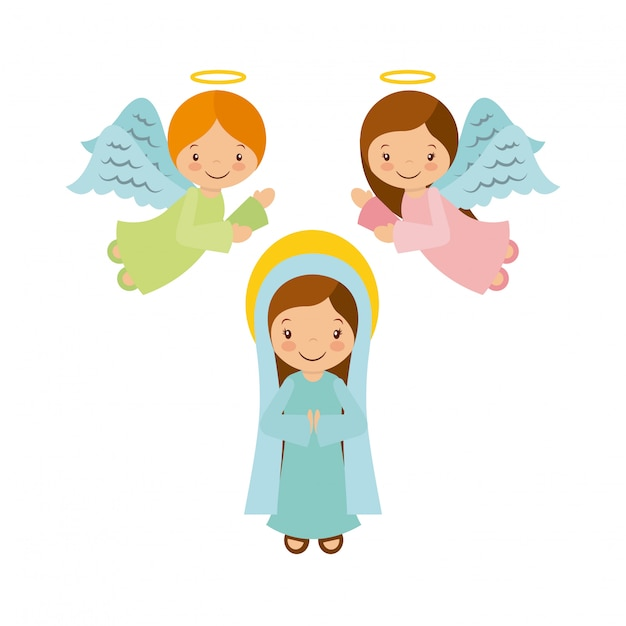 Virgin mary with angels Premium Vector