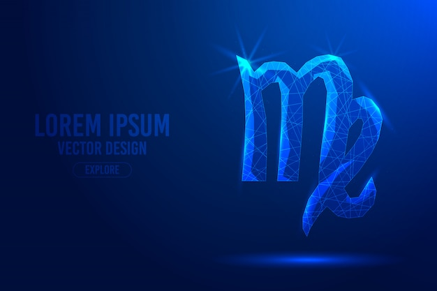 Virgo sixth zodiac sign abstract background. linear and polygonal 3d concept of horoscope, celestial constellation. Premium Vector