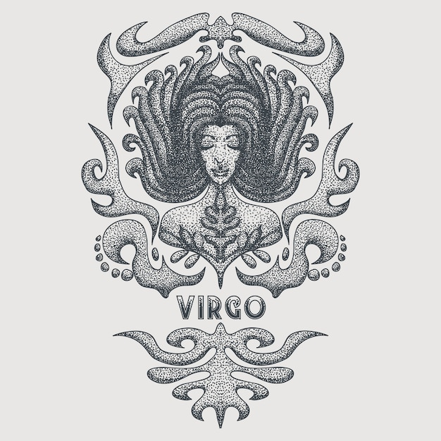 Virgo zodiac vintage Premium Vector