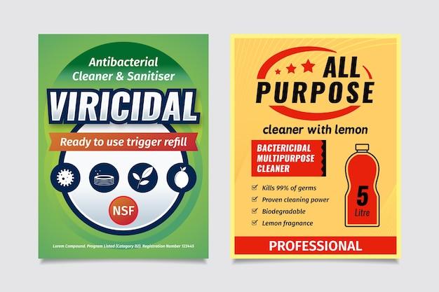 Вирицидные и бактерицидные чистящие средства Бесплатные векторы