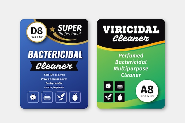 Viricidal and bactericidal cleaner labels Free Vector