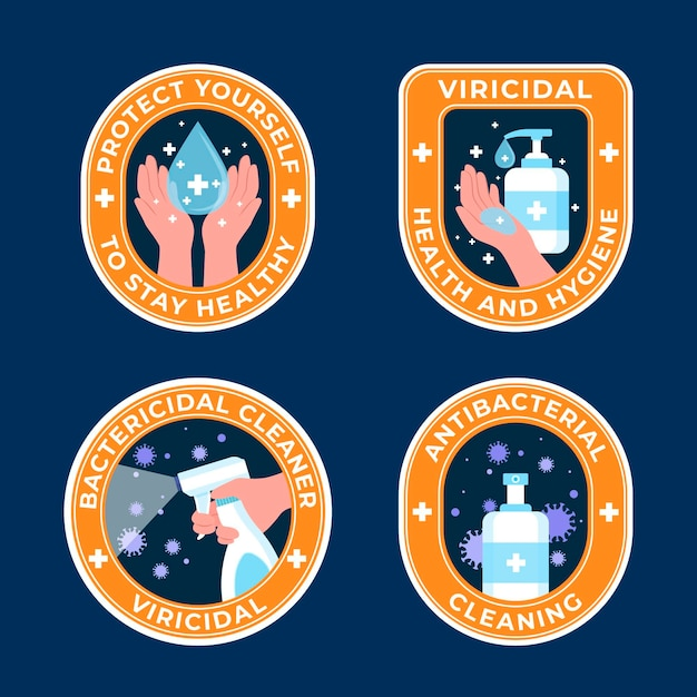 Viricidal and bactericidal cleaner labels Premium Vector