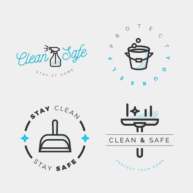 Etichette detergenti viricide e battericide Vettore gratuito