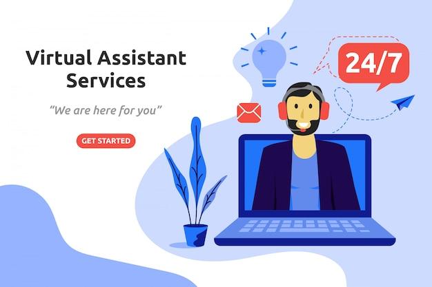 Virtual assistant services concept modern flat design Premium Vector