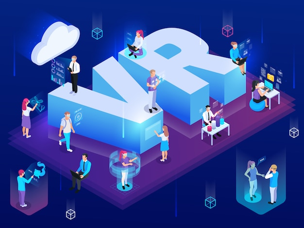 Virtual augmented reality 360 degree isometric composition of people with hi-tech pictogram and text vector illustration Free Vector