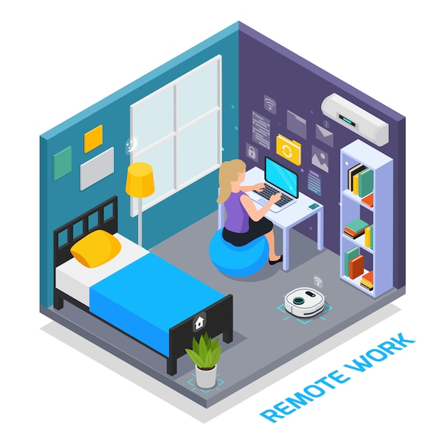 Virtual augmented reality 360 degree isometric composition with view of domestic bedroom interior with electronic devices vector illustration Free Vector