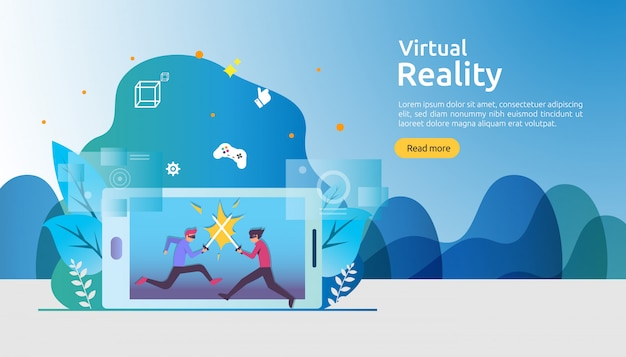 Virtual augmented reality background template Premium Vector