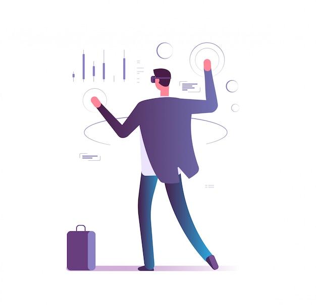 仮想拡張現実ビジネスコンセプト。 vrガジェットを持つ男が電子アカウントを管理します。将来の銀行技術のベクトル図 Premiumベクター