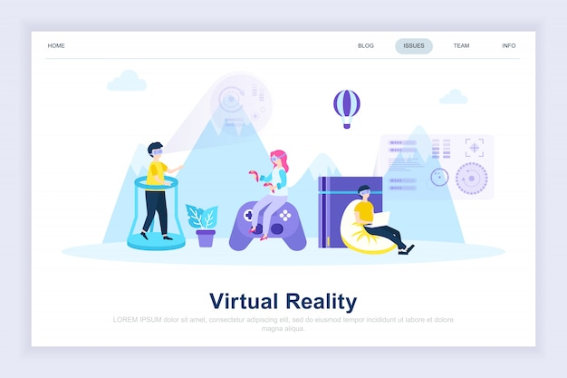 Virtual augmented reality glasses modern flat landing page Premium Vector