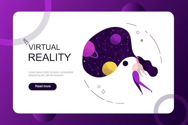Virtual augmented reality holidays on weekend concept. girl woman wearing virtual reality glasses seeing space galaxy universe planet. Free Vector