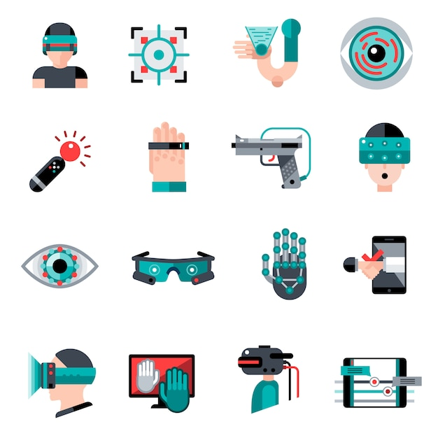 Virtual augmented reality icons Free Vector