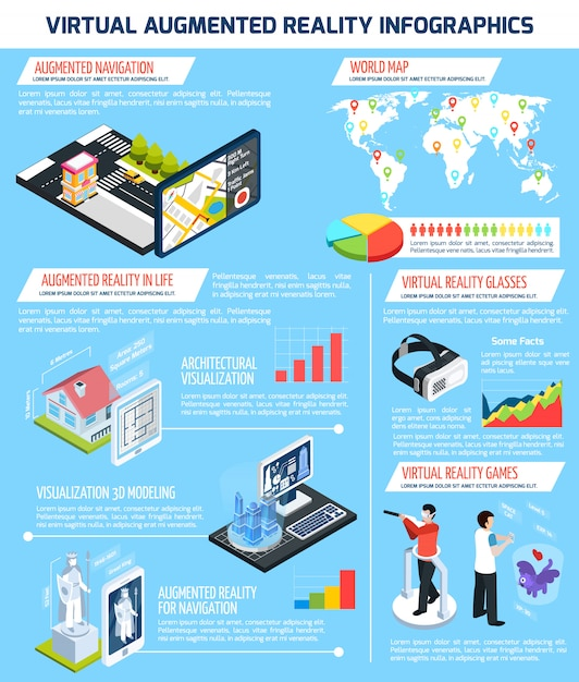 Virtual augmented reality infographics Free Vector