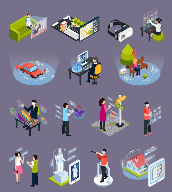 Virtual augmented reality isometric icons set Free Vector