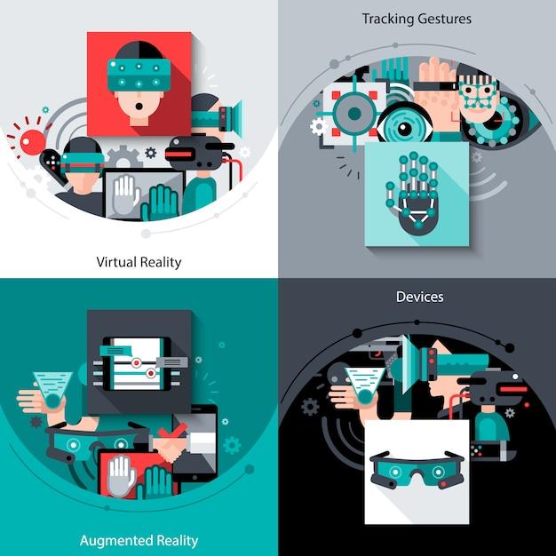Virtual augmented reality set Free Vector