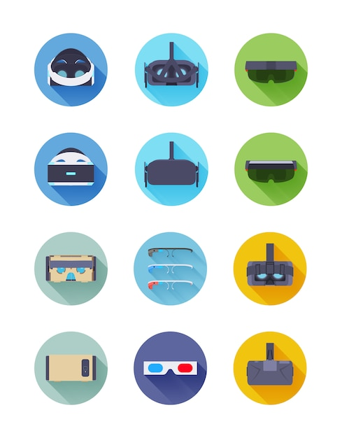 Virtual and augmented reality vector icons set Premium Vector