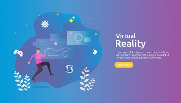 Виртуальная дополненная реальность с персонажами, которые касаются интерфейса vr и носят очки, играя в игру Premium векторы