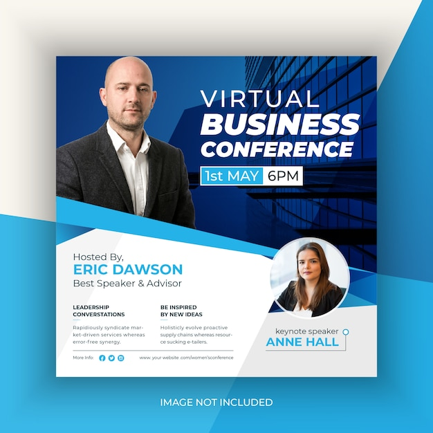 Virtual business conference social media post Premium Vector