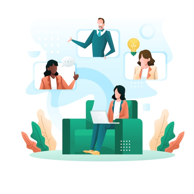 Virtual conference call of a business group meeting and work from home illustration Premium Vector