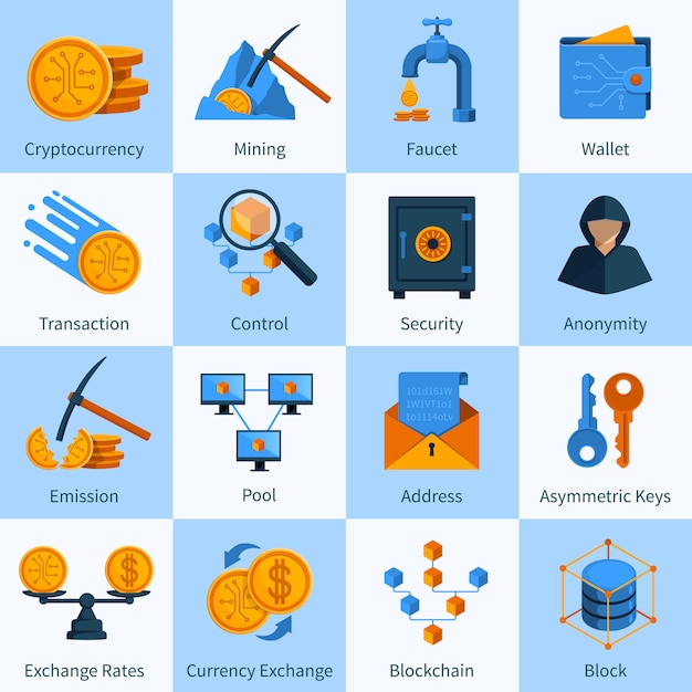Virtual currency icons set flat style Free Vector