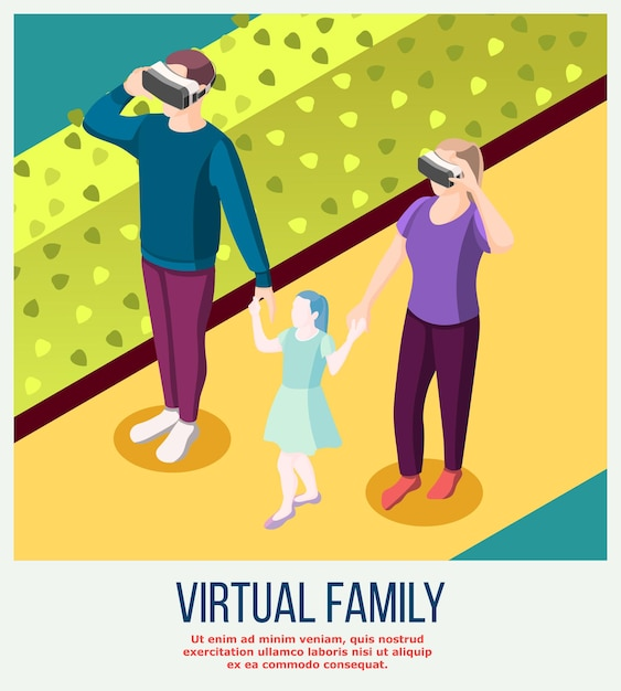 Virtual family from actual adults in vr glasses and fictitious daughter during stroll isometric Free Vector