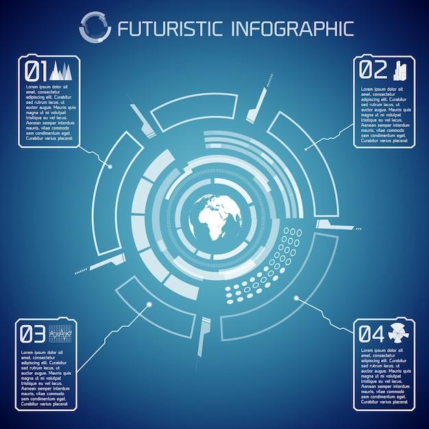 Виртуальный футуристический инфографический шаблон с текстом глобуса пользовательского интерфейса и значками на синем фоне Бесплатные векторы