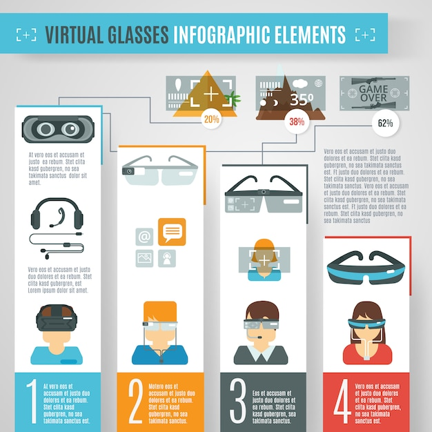 Virtual glasses infographics Free Vector