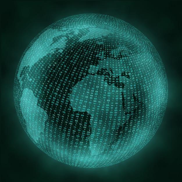 Virtual globe with binary code. Premium Vector