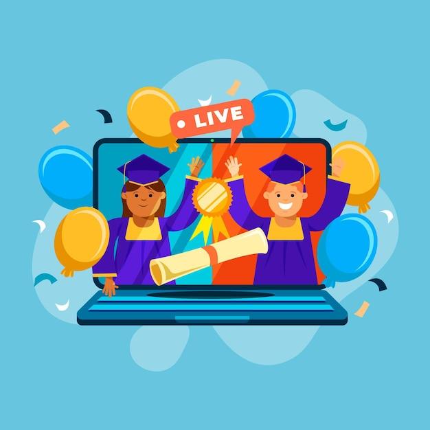 Concetto di cerimonia di laurea virtuale Vettore gratuito