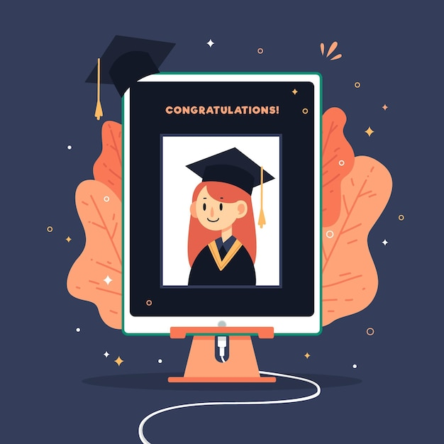 Virtual graduation ceremony illustration with girl Free Vector