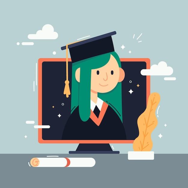 Виртуальная выпускная церемония иллюстрация со студентом Premium векторы