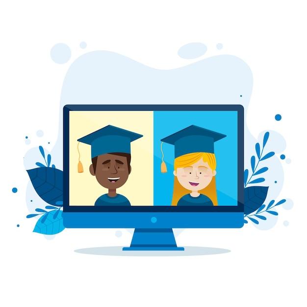Виртуальная выпускная церемония с компьютером Бесплатные векторы