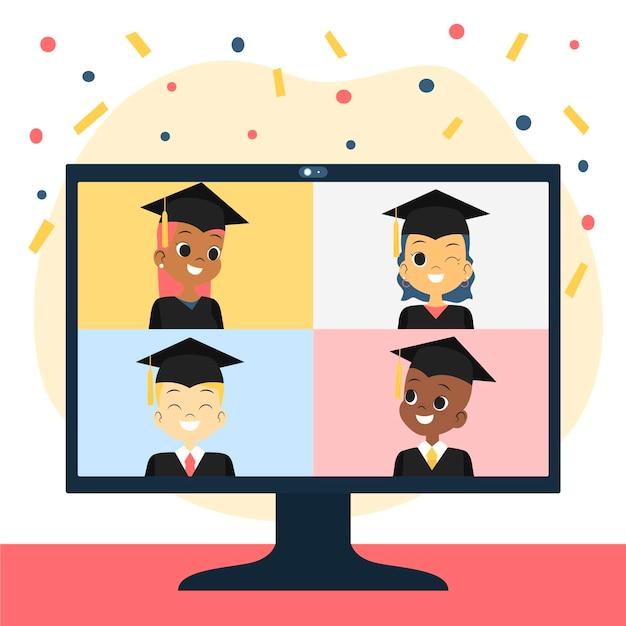 Виртуальная выпускная церемония с конфетти Бесплатные векторы
