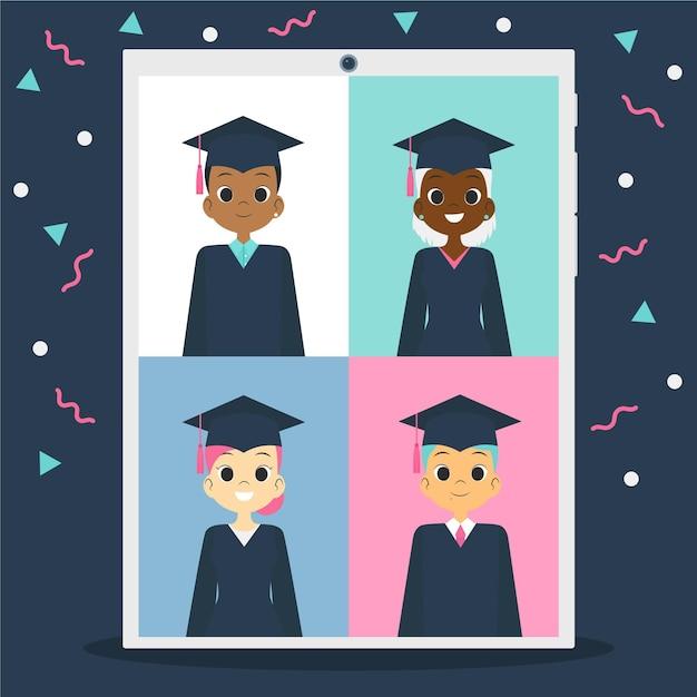 Виртуальная выпускная церемония со студентами и конфетти Бесплатные векторы