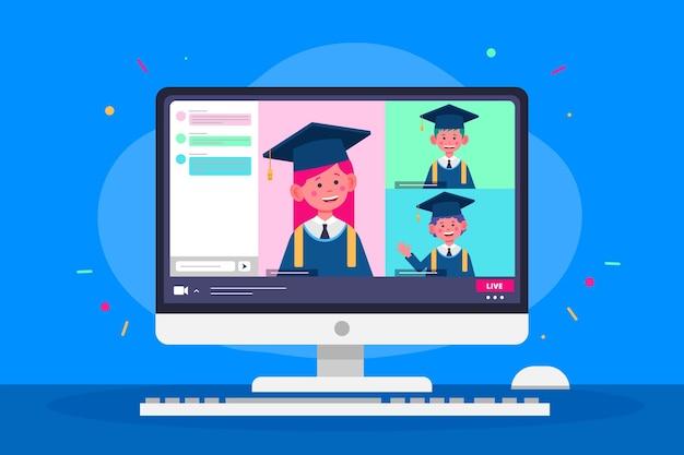 Виртуальная выпускная церемония со студентами Бесплатные векторы