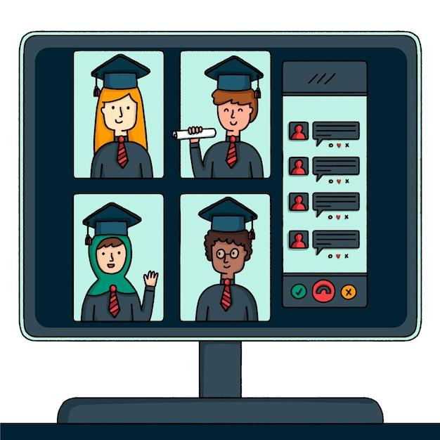 Cerimonia di laurea virtuale Vettore gratuito