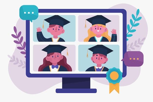 Виртуальная выпускная церемония Бесплатные векторы